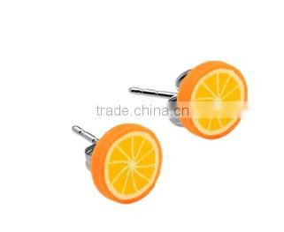 2016 hot sale 316L surgical stainless steel ear studs Fruits wholesale body piercing jewelry