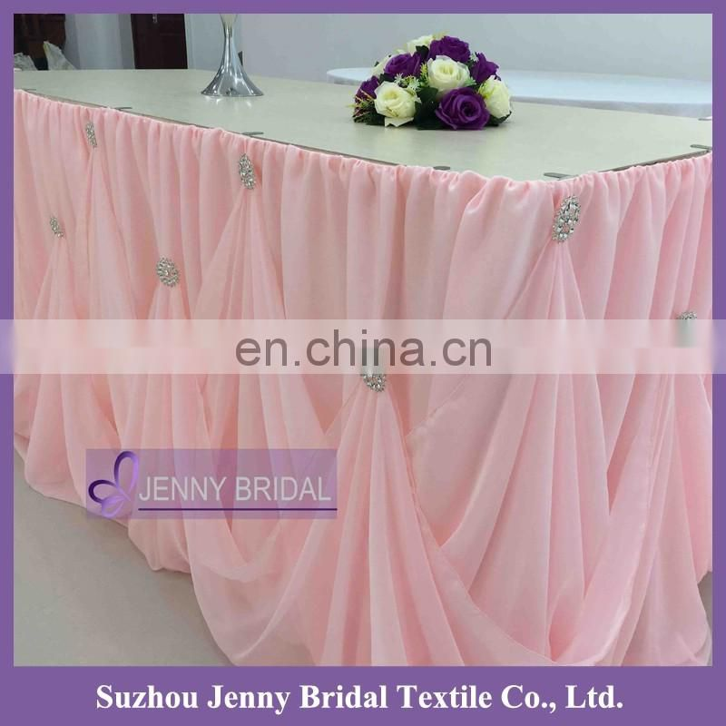 TC106D 5.2m long 76cm luxury wedding cake chiffon cinderella table skirting with rhinestone buckle