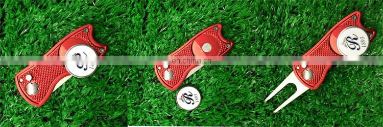 Golf club automatic divot repair pitchfork with custom logo markers