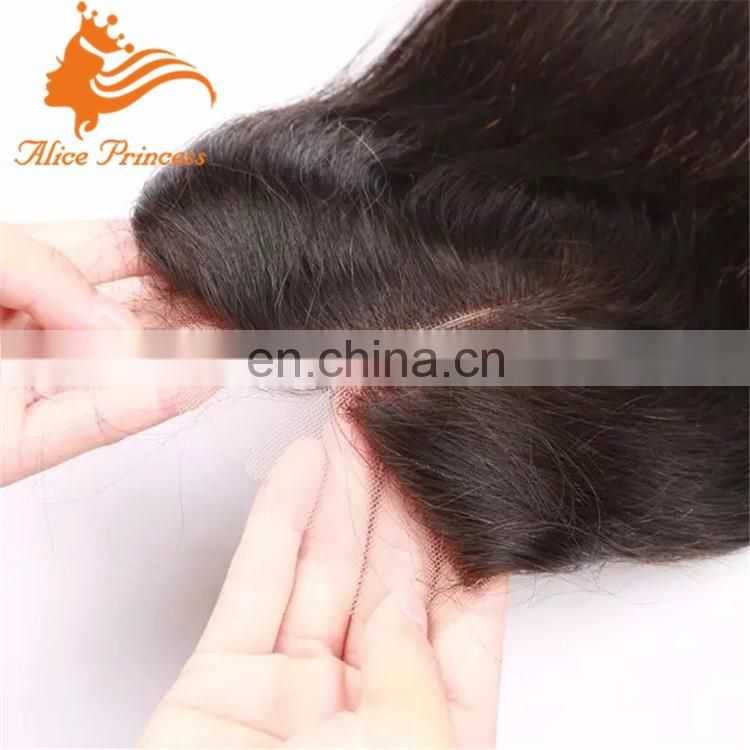 Overnight Shipping Top Quality Hand Tied Cheap Virgin Brazilian Human Straight Hair Middle Parting Lace Closure With Baby Hair