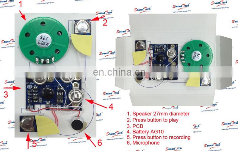 Acoustic Components Voice recording greeting card chip
