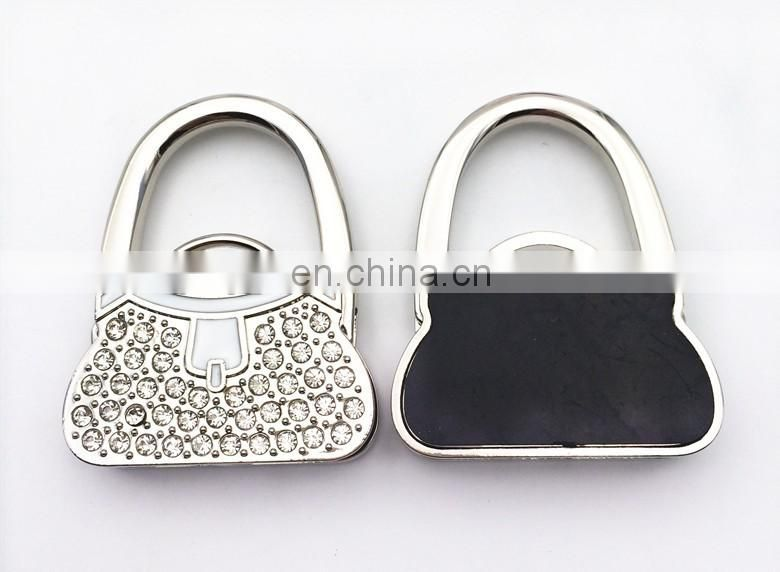 Wholesale lock handbag shaped holdable table purse hanger with rhinestone