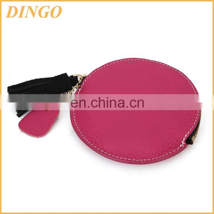 PU leather coin wallet zipper bag, plastic coin wallet storage string bags