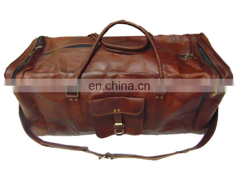 "Brown Genuine Leather 28""Travel Luggage carry on bag, over night bag"
