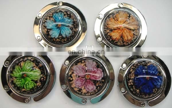Round Handbag Holder Wholesale Gift Items Enamel Purse Hooks Colorful Butterflies with Flowers Cloisonne table bag