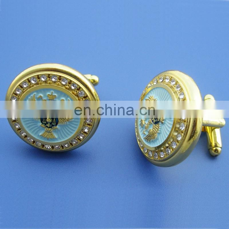 Golden round shape enameled white color embossed logo metal cufflinks with rhinestone