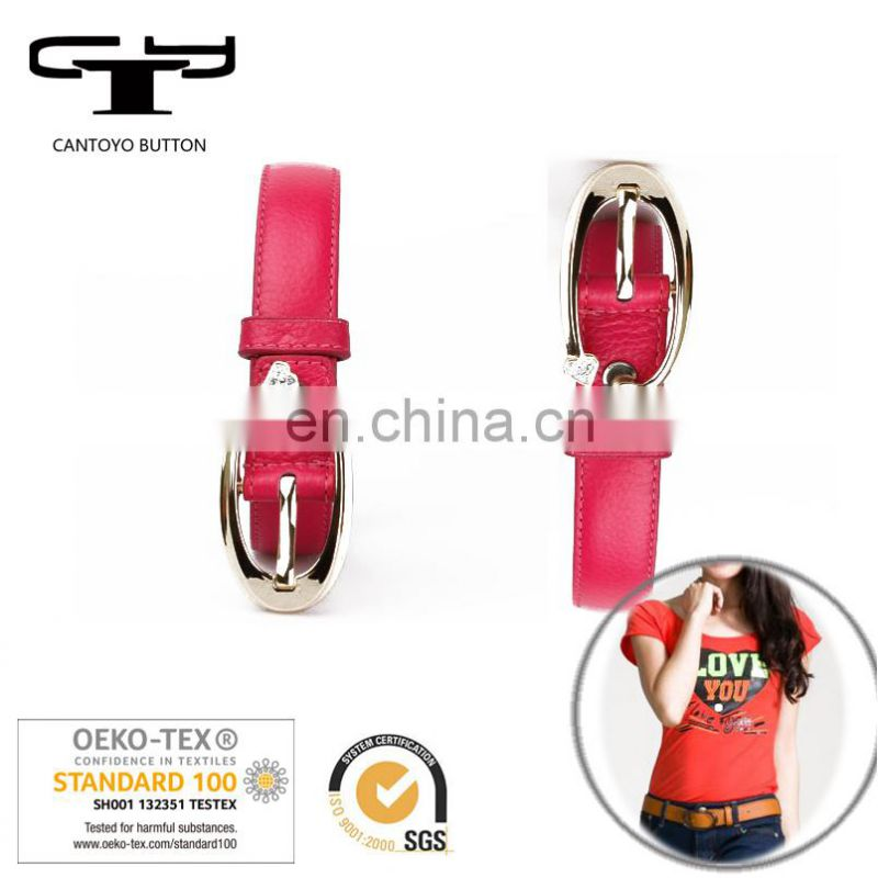 Hot sale women girl female colorful belt pu leather with metal buckle