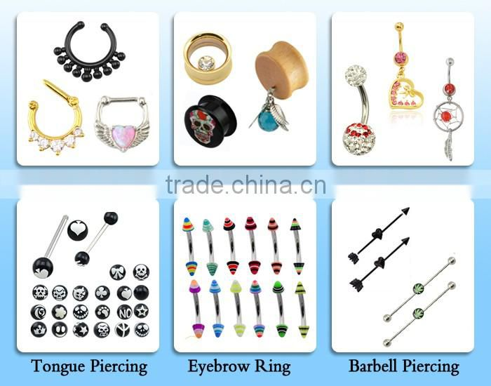 Fancy Crystal Horseshoe Circular Barbell Jewelry Body Piercing Nose RIngs