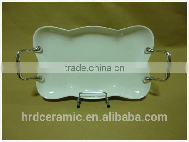 China stock ceramic garlic grater plate with Metal handle