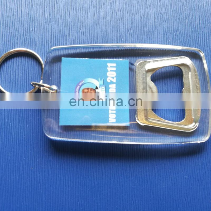 High Quality photo insert bottle opener acrylic keychain