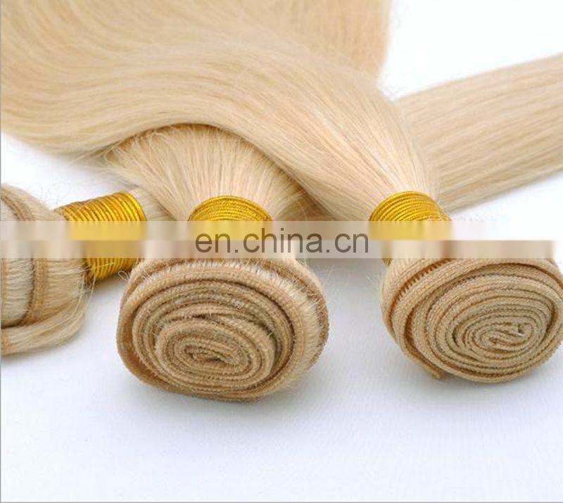 New arrival Wholesale factory price Brazilian virgin remy hair color 613 blonde hair weave, 613 color weave human hair