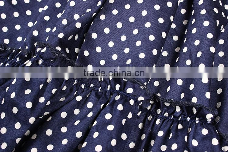 Most Popular Celebrity Designs Half Puff Sleeves Blue Dot Print Ball Gown 2015 Latest Dress Designs For Women