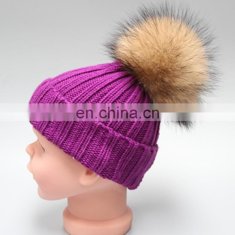 Fashion striped pattern fur pompom hat knitted kids bobble hats for winter warm