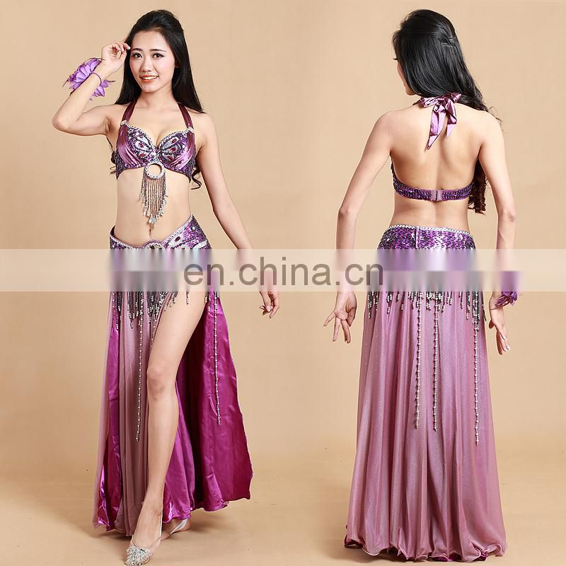 Top quality high-class sexy indian belly dance clothing with beaded tassel bra and belts GT-1019#