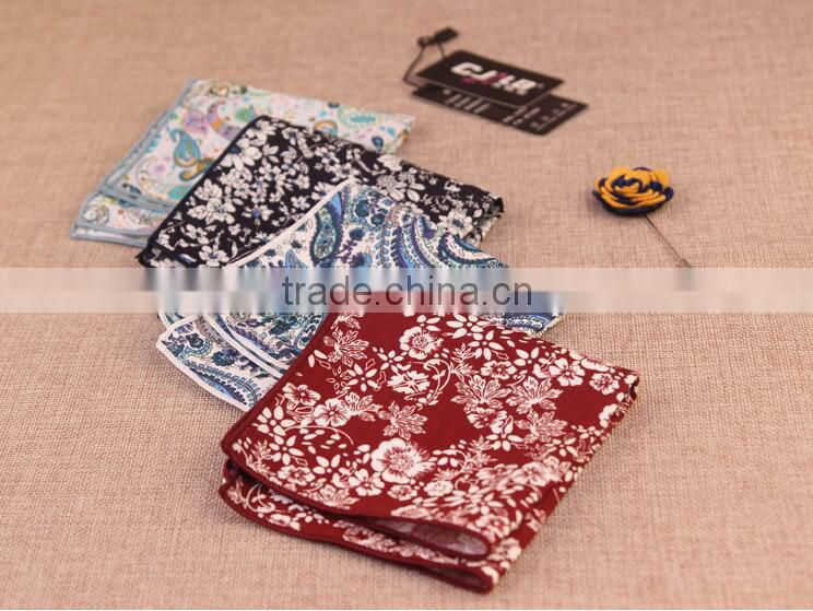 Popular Western Cotton Paisley Design Mens Hankerchief For Gift