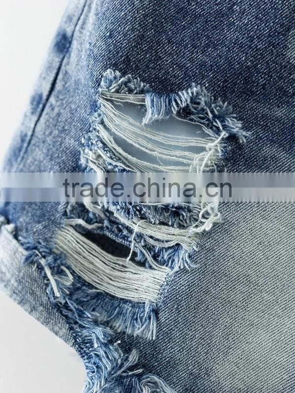 2017 New fashion short ripped jeans torn denim shorts for women