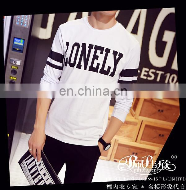 Peijiaxin Casual Style O-neck Printing Man Long Sleeves Cotton T-shirt