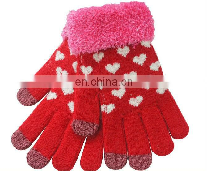 Ladies popular gloves with heart pattern Jacquard Knitted heart shape fashion touchscreen gloves