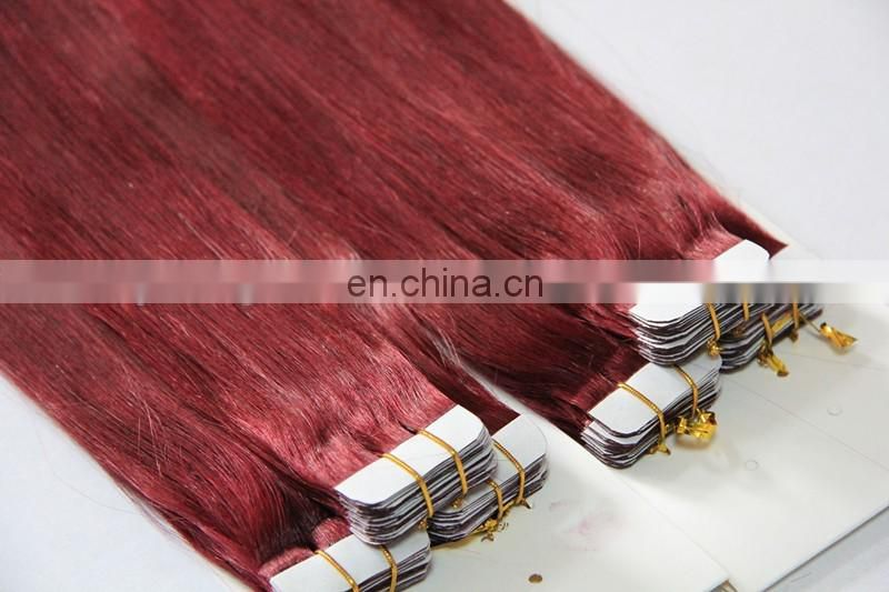 high quality indian remy hair natural hair extensions tape-in