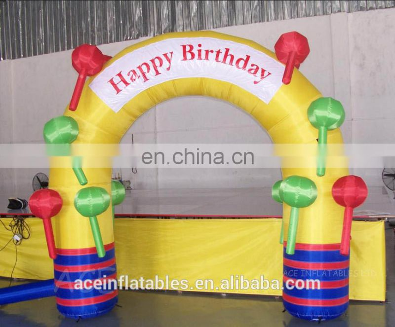 2017 Attractive inflatable happy birthday arch for kids