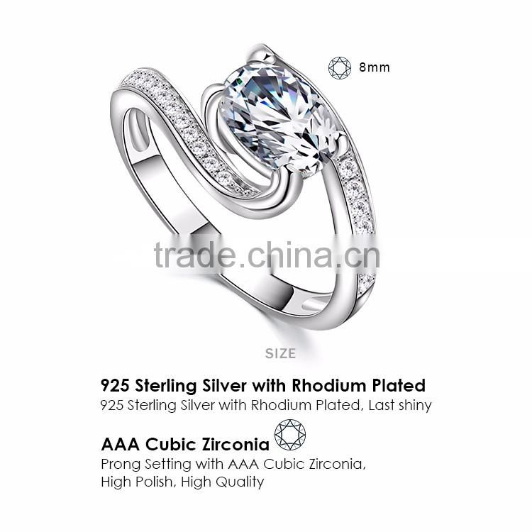 Women's Cubic Zirconia Anniversary Bridal Wedding Band Engagement Ring 925 Sterling Silver