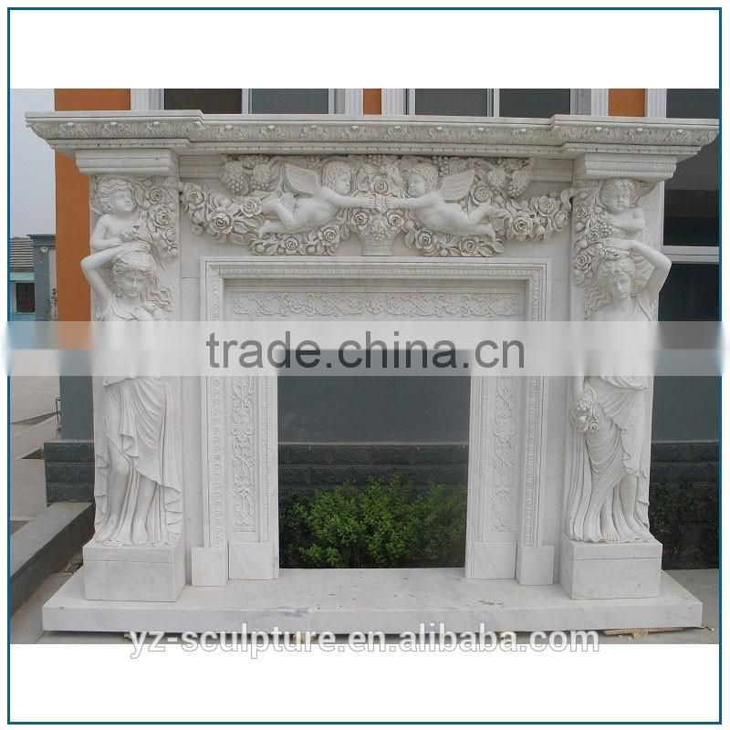 stone fireplace mantle with lady statue for sale