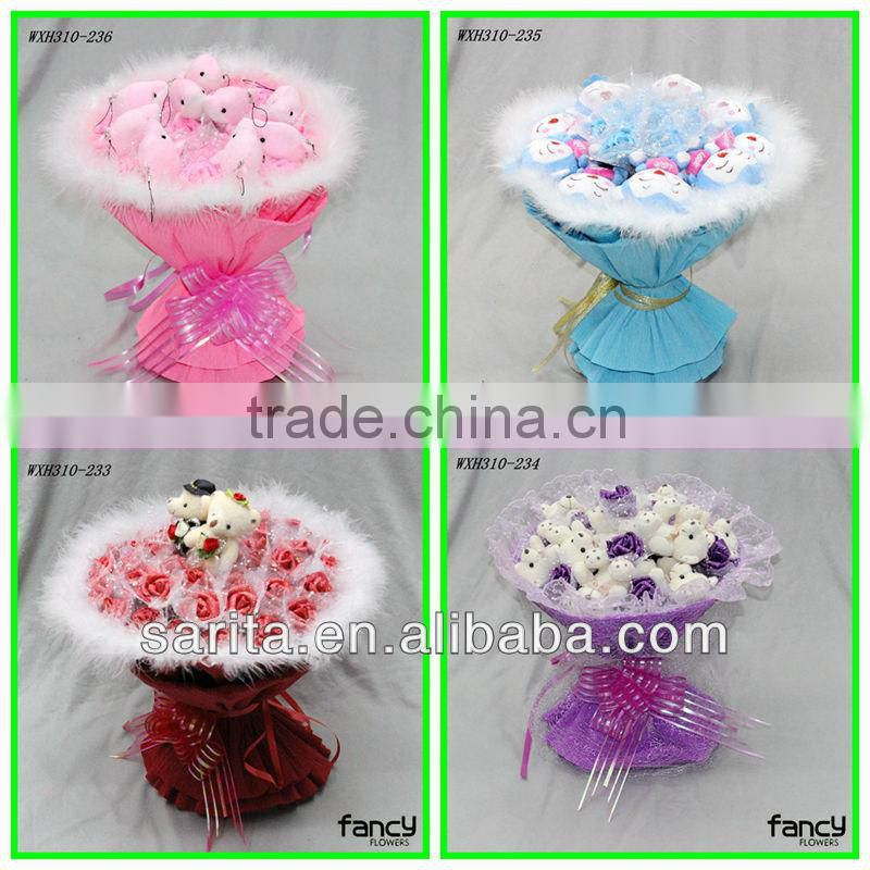 sweet love doll bouquet 9 pcs Ali 11 pcs blue rose artificial flowers creative gifts Valentines Present