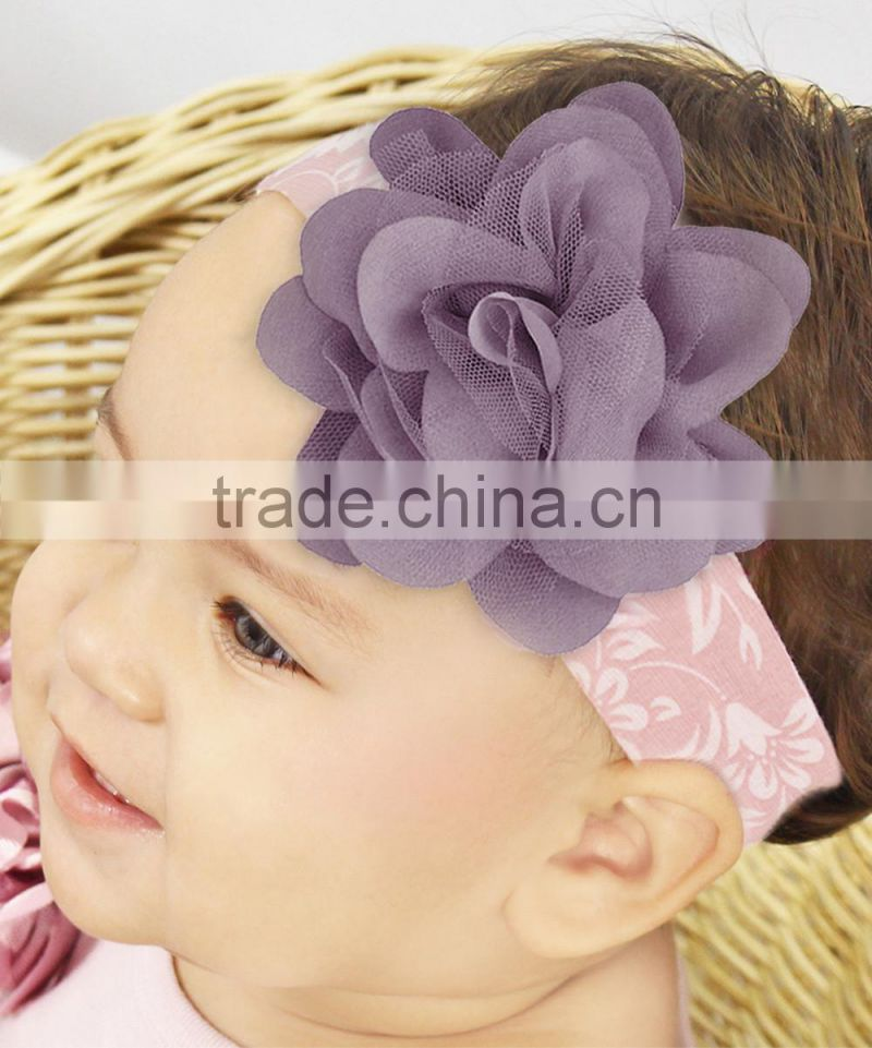 New Infant Headband With Big Flower Fancy c Cotton Kids Headbands HA90421-37