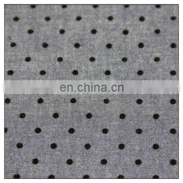 100 cotton twill retardant flocked denim fabric