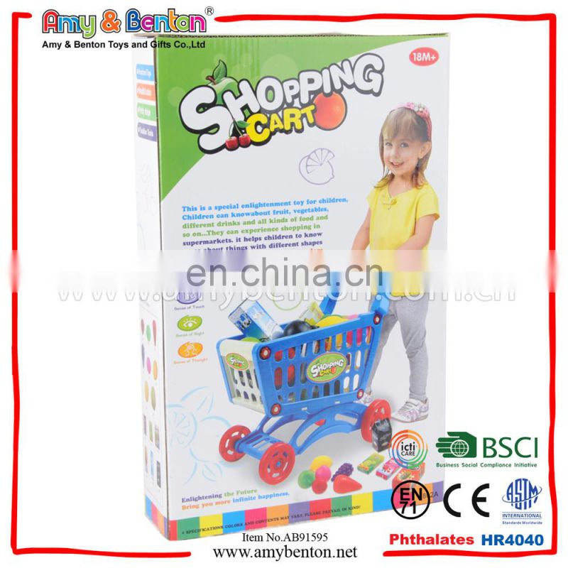Hot Sale Plastic Mini Supermarket Shopping Cart Toy For Kid