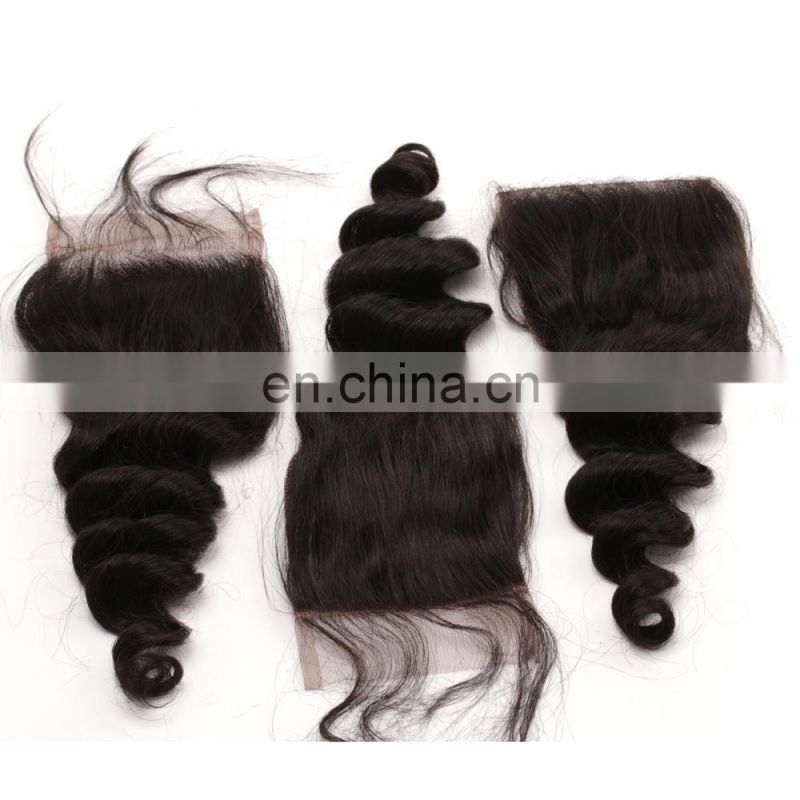 Loose wave Virgin hair bundles with lace closure