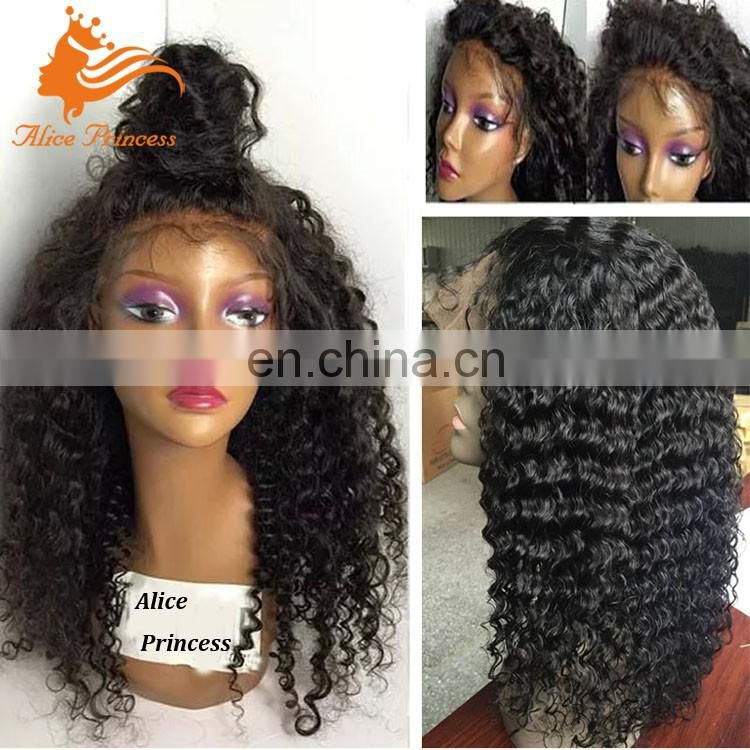 7A Kinky Curly Human Hair Full Lace Wigs For Black Women Malaysian Virgin Hair Lace Wig With Baby Hair For Black Women