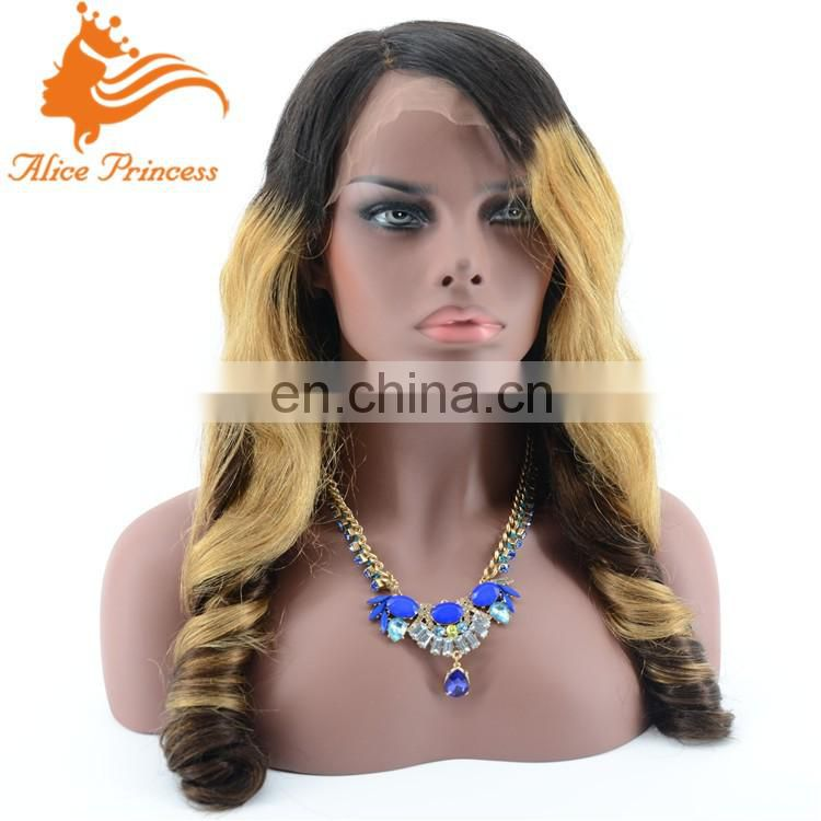 ombre honey blonde cheap full lace wig wavy deep side part lace wig