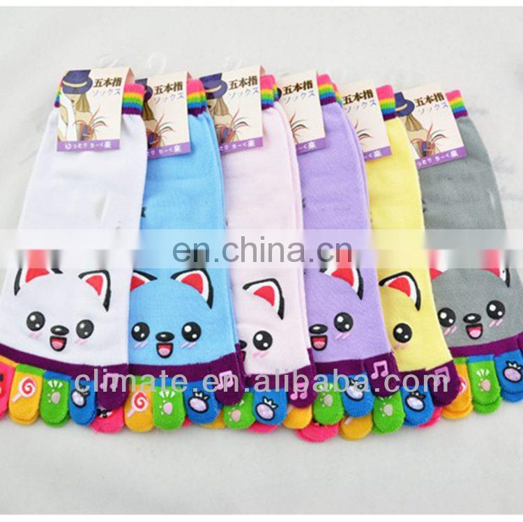 New design 100% acrylic fashion design knitted fancy five toes socks