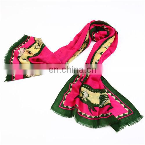 fashion wool pure ladies custom printed woman scarf