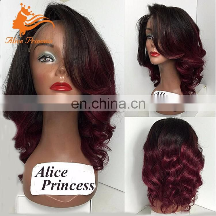 Peruvian Hair Glueless Lace Wig Two Tone Ombre Color #1BT99J Body Wave Full Lace Ombre Party Wig Virgin Human Hair
