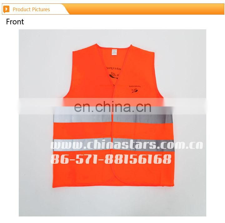 CNSS 100% polyester high visibility fluorescent orange reflective safety vest