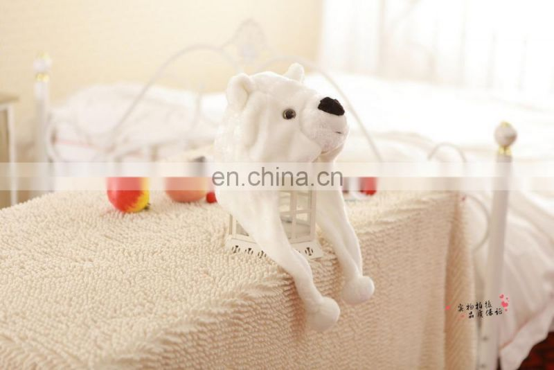 Dongguan Manufacturer produce all kinds of plush animal head hat White polar bear hat