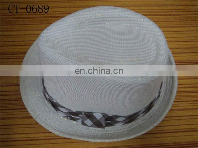 white glitter fedora hat with checked band