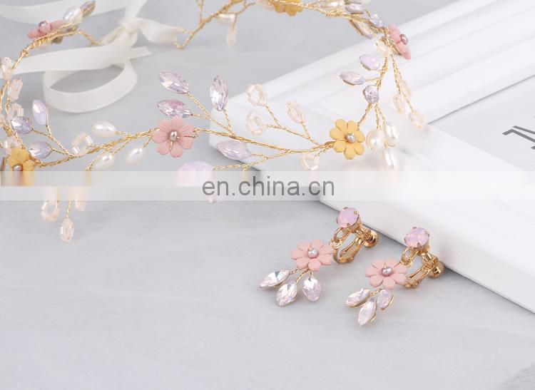 Stunning Charm Flower Headband Tiara With Earrings Floating Pearl Beads Engagement Bridal Hair Vine Wedding Prom Dresses Jewelry