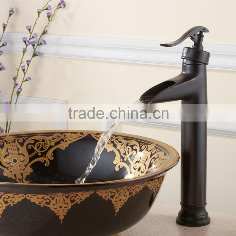 FLG100052 High Quality High End Waterfall Oil Rubbed Bronze Bathroom Basin Faucet Mixer Tap With a Big Spout