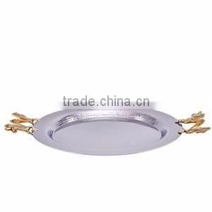 leaf design gold plated fancy tray