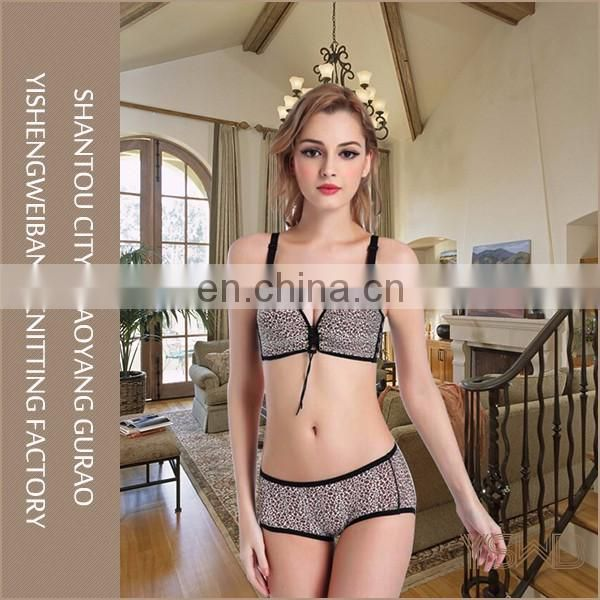 Wholesale cotton sexy leopard ladies underwear set