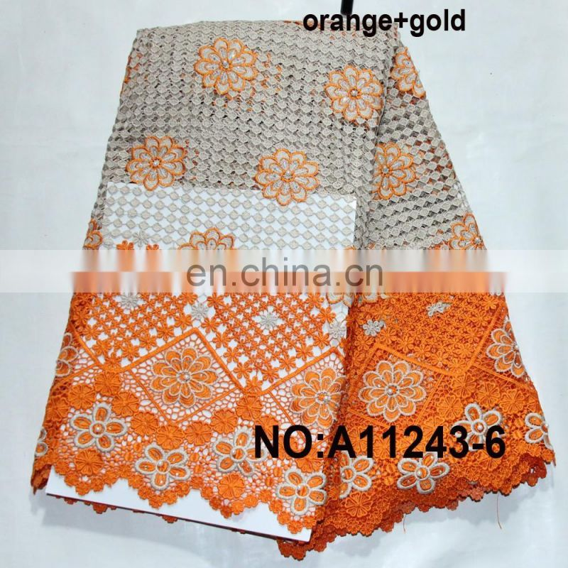 Hot sale african water soluble lace/african cord lace wedding dress fabric