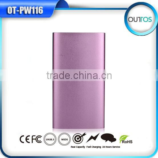 2015 new fashionable smart extreme slim power bank with led light