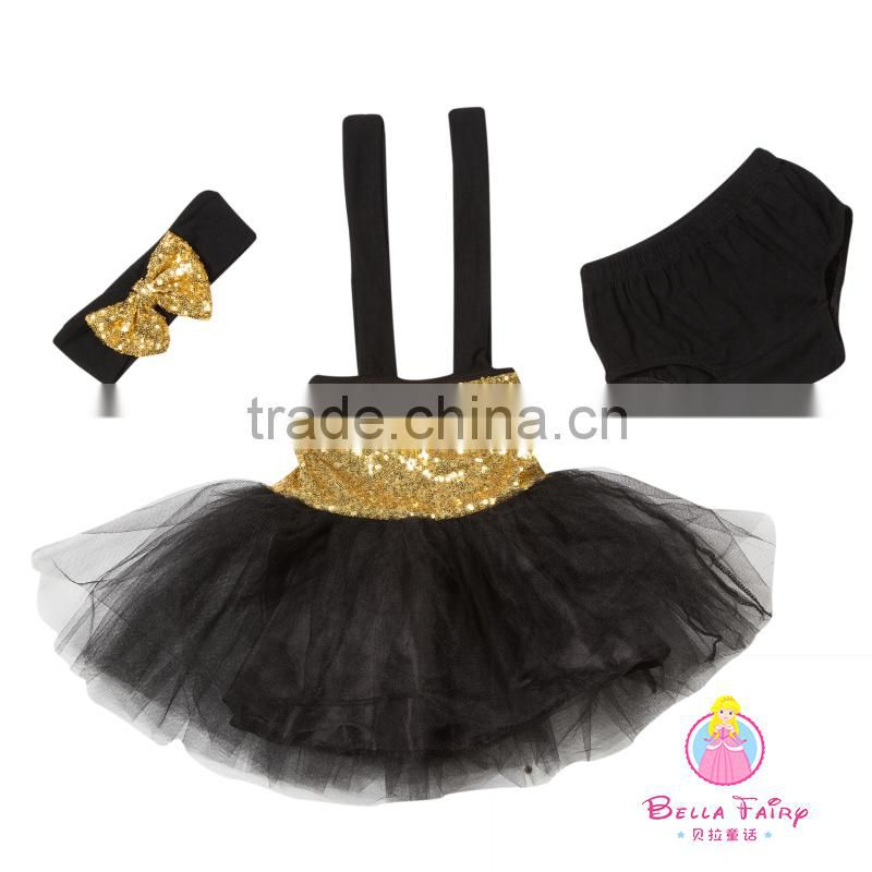 Wholesale girl Tutu Dresses cute Baby Girls Casual Children boutique Clothing set sequin romper tutu set with hairband