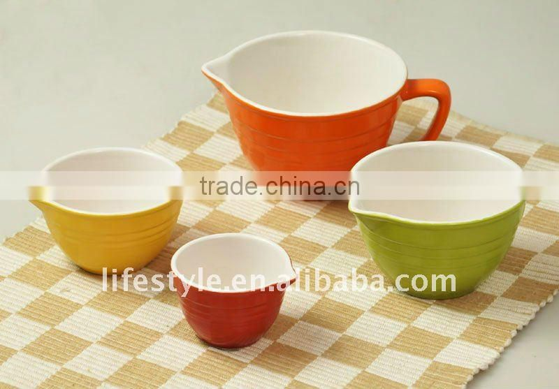 4Pcs Colorful Measuring Cups, Stoneware