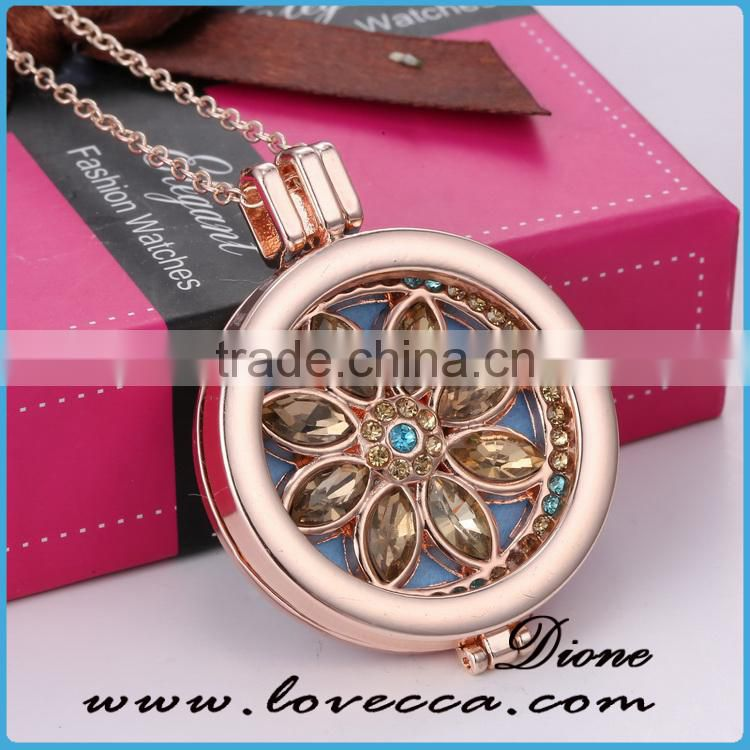 Aroma Pendant 30MM Round Hollw Flower Design Stainless Steel Essential Oil Diffuser Floating Locket