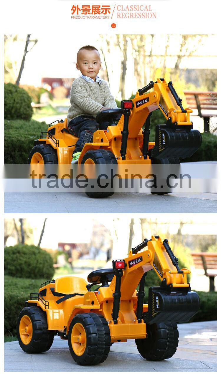 Yellow Big simulation electric truck for riding children