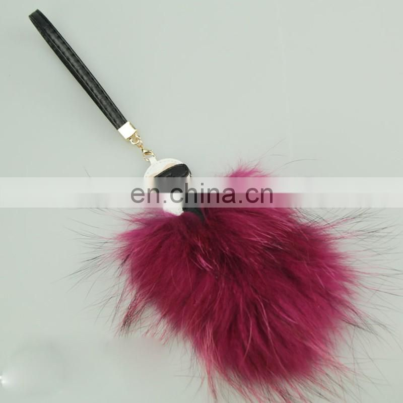Colorful genuine raccoon fur tail pendant monster key chain for bag